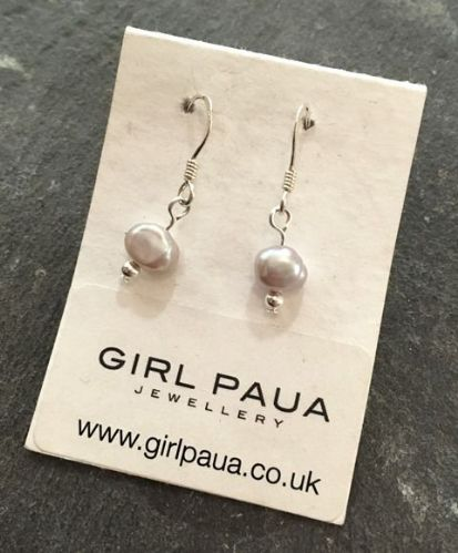 Freshwater Pearl (Silver) & Silver Bead Earrings FE02-S